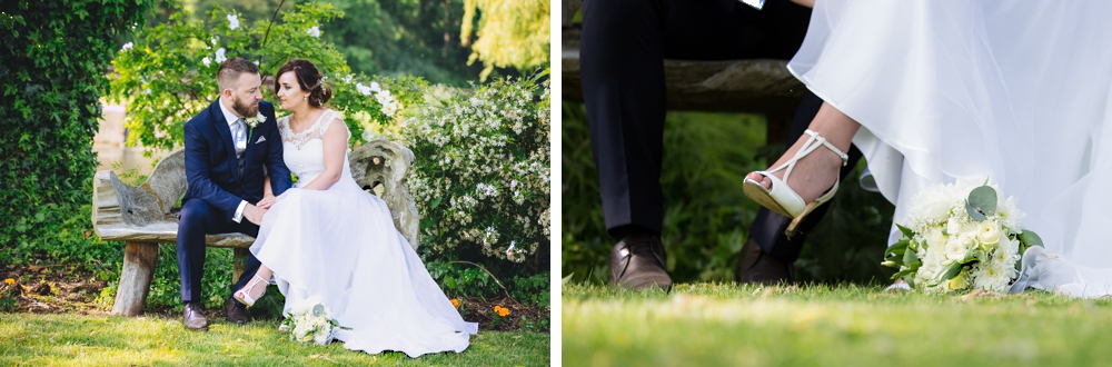Bride_And_Groom_Sitting_On_Garden_Bench