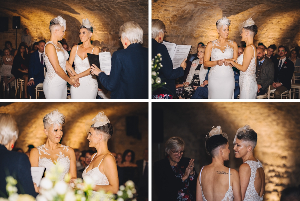 Mixed images of brides at alter