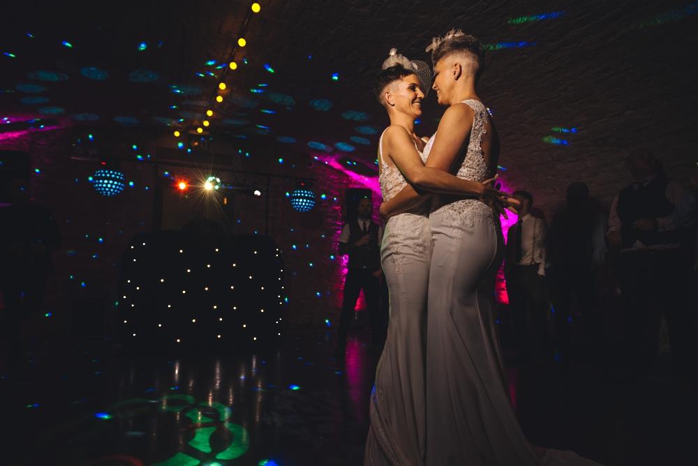 Same sex couple first dance wedding day
