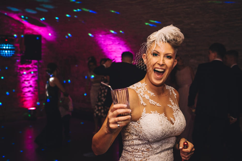 Bride on dance floor on her wedding day