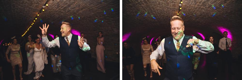 MC and choreographer teaching line dancing wedding day