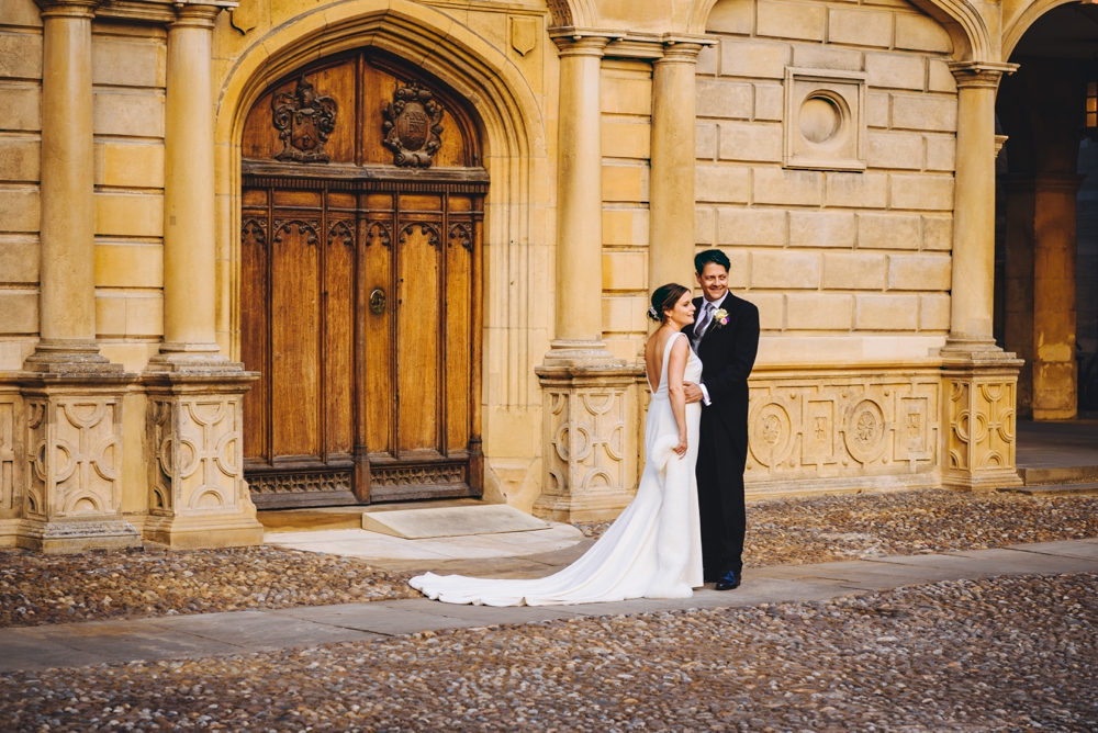 Bride and Groom Peterhouse college courtyard
