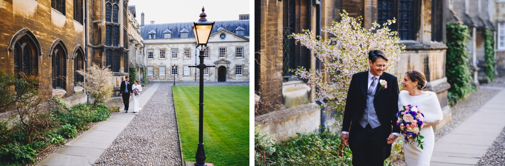 Peterhouse college courtyard - Bride & Groom