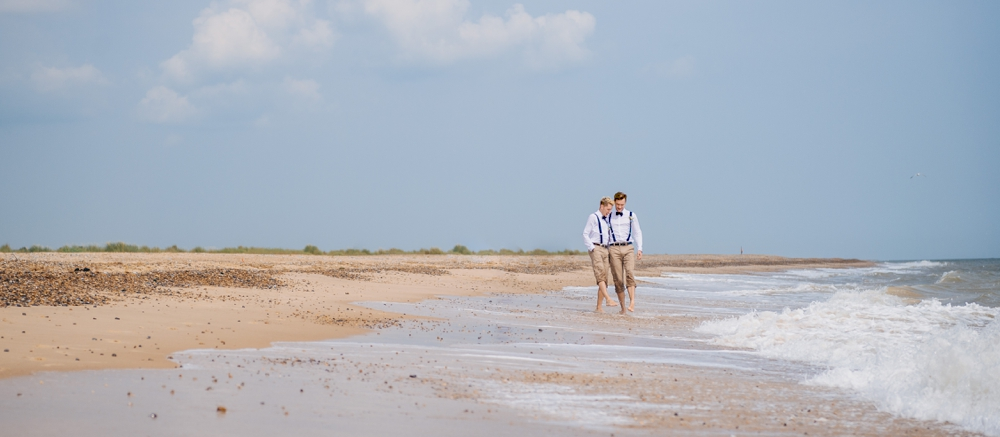 Same sex male couple on Norfolk beach wedding day formal shots