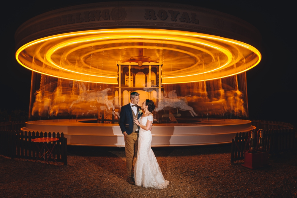 Carousel ride with Bride and Groom Preston Court Canterbury