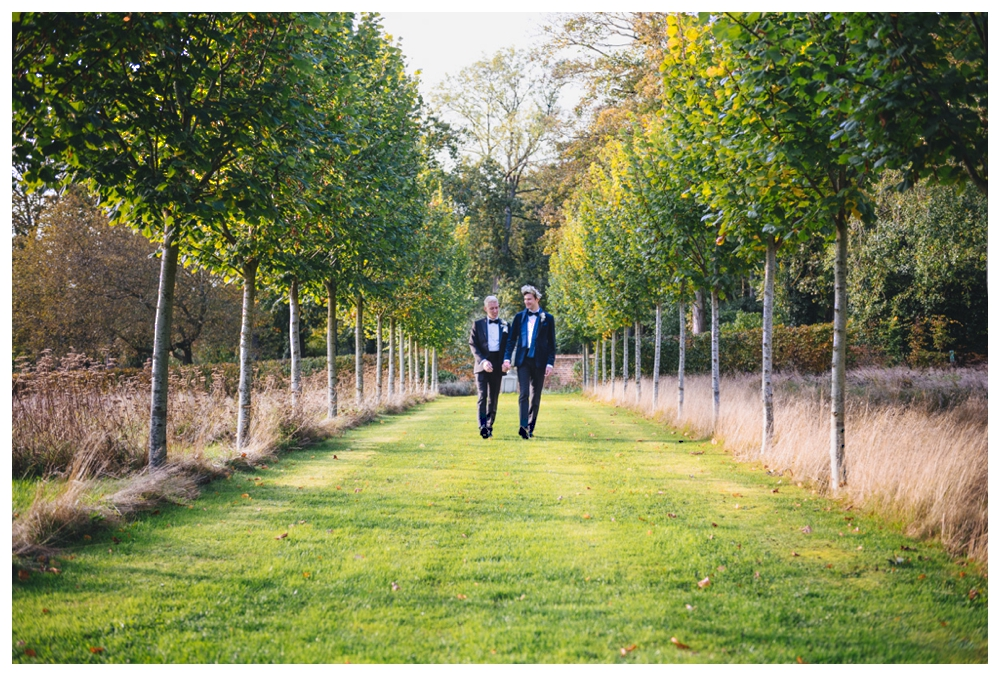Grooms walking the grounds of Oxnead Hall