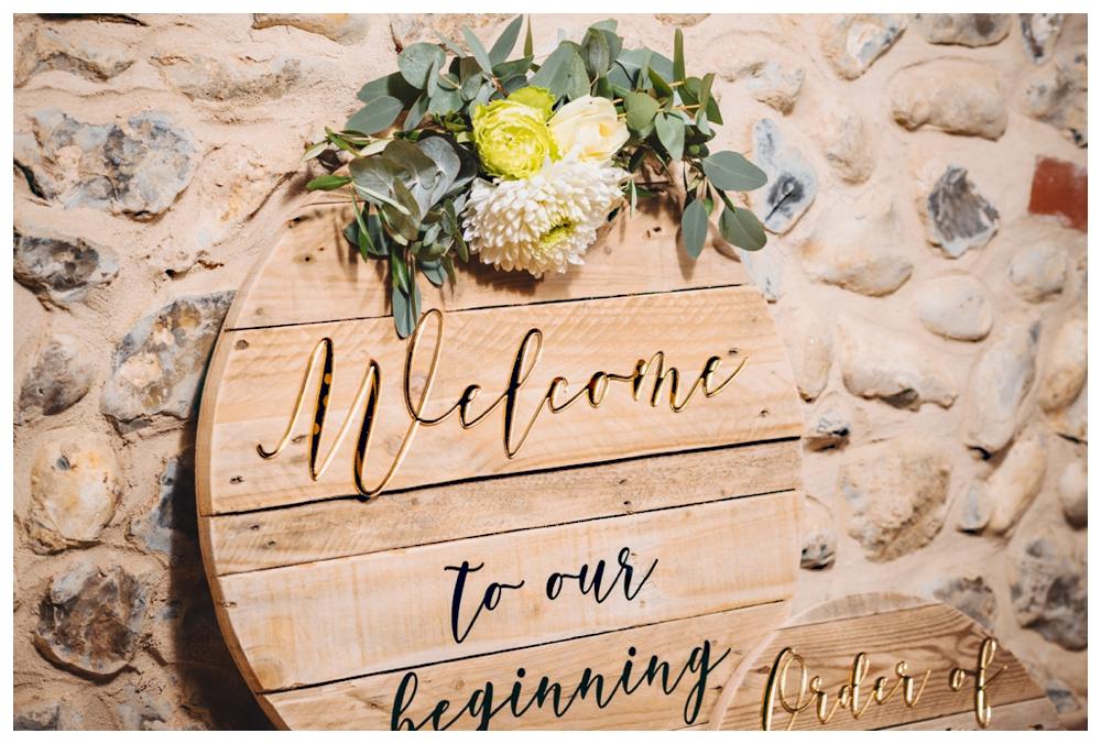 Handmade bespoke wooden welcome sign