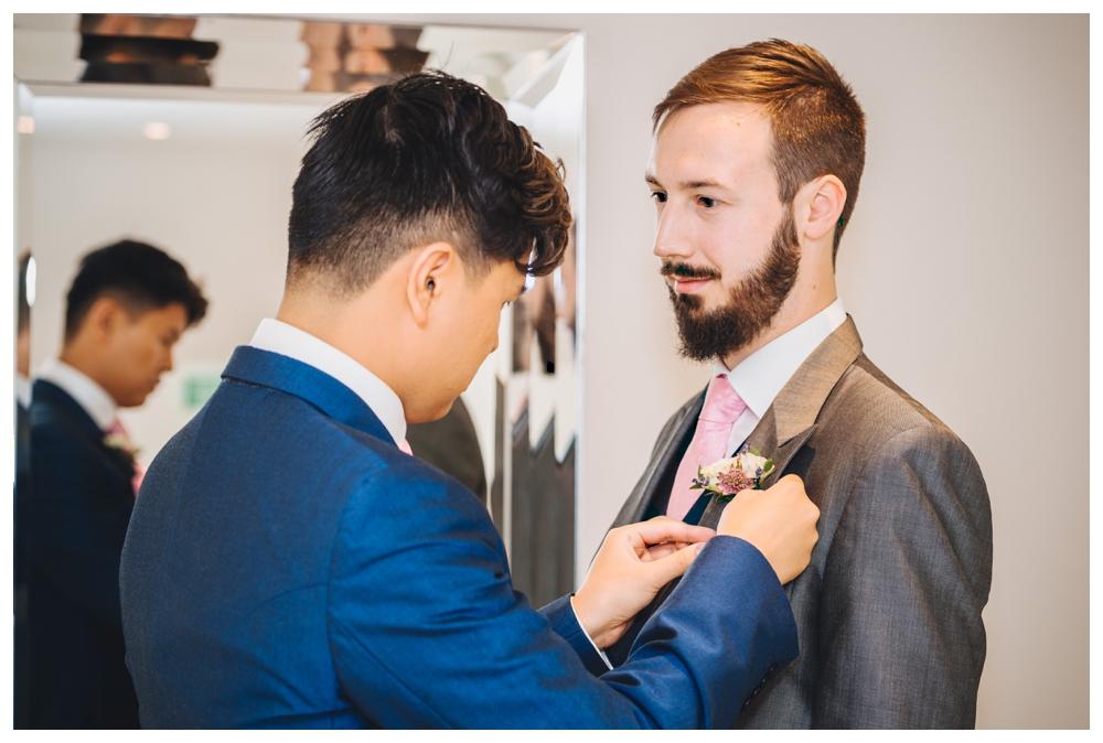Groom Preparation Fastening Buttonholes