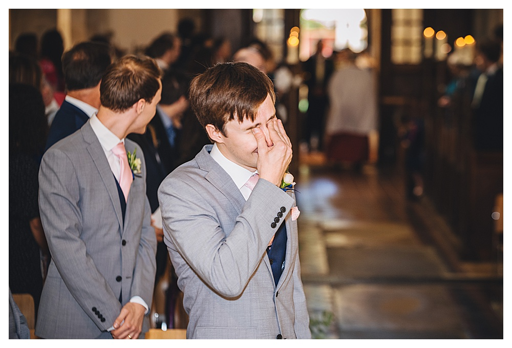 Emotional Groom as Bride Enters All Saints Church