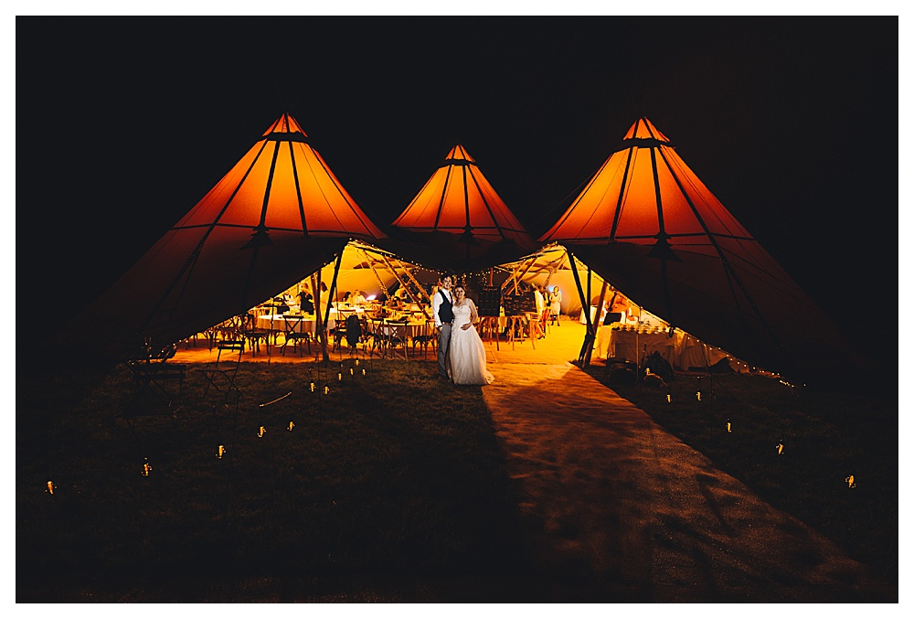 DIY Wedding Tipi Evening shot